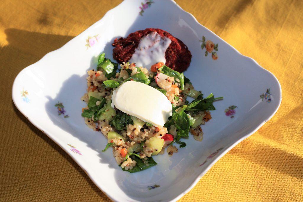 Quinoa salát se špenátem a mozzarelou a zeleninovými plackami
